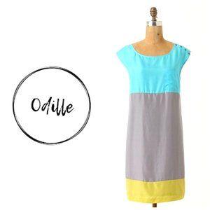 ANTHRO ODILLE 100% Silk Color Block Shift Dress